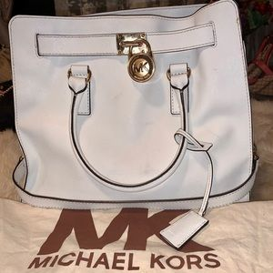Authentic Michael Kors white leather  tote bag